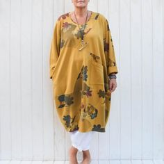 70e422ee110 Lagenlook Quirky Stretch Cotton Dress Part Floral with Pockets Oversized  Comfy L XL Plus Size UK