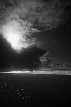 North Coast beach in black & white