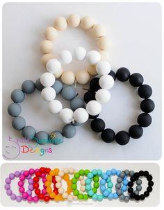 Silicone Teething Bracelet - Fashionable, Loveable and Chewable - Black, White, Grey, Tan
