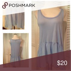 """Baby blue tank New with tags baby blue peplum tank. The top is soft and stretchy. The bottom is sheer chiffon. High low hemline. Brand is Signature Studio. Size XL: 20""""UA, 27""""L in front, 32""""L in back. Tops Tank Tops"""