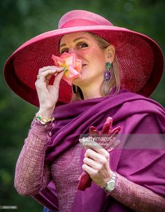 Queen Maxima of The Netherlands presents a new rose during the Dutch Rose Association's National Symposium in the Rosarium on June 13, 2017 in Winschoten, Netherlands.  (Photo by Patrick van Katwijk/Getty Images)