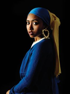 Awol Erizku's photographs reference classical art works to include models of color in order to emphasize, and draw attention to the lack of racial diversity represented in art history. Erizku creates images such as, Girl with a Bamboo Earring, 2009 in which he replaces Johannes Vermeer's Dutch sitter, in Girl with a Pearl Earring (c. 1665) with a contemporary African-American woman.