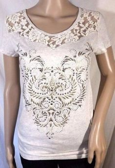 Miss Me Stylized Lace Embellished Beige Top - S, L