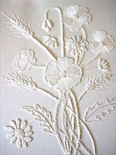 stitchingsanity:  Mountmellick Poppies - white on white - beautiful!  Visit pattrott.co.uk