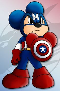 Being the one who started it all I felt he should have a leader role and why not Captain America, since he& an Icon for America, Mickey is an Icon for Disney. Art © Mickey Disney a. Disney Mickey Mouse, Mickey Mouse Y Amigos, Mickey Mouse And Friends, Minnie Mouse, Disney Love, Disney Magic, Disney Art, Disney Pixar, Walt Disney