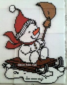 Christmas snowman hama perler beads by deco.kdo.nat.