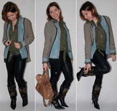 Look do dia: como usar bota de pele com legging, blusa chiffon, camisa jeans e cardigan no blog de moda. Look com bota de pele.