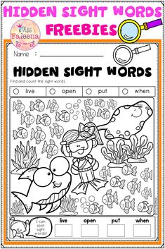 This resource has 3 pages of hidden sight words worksheets. This resource is perfect for preschool to first grade students. This resource helps children learn to identify and count sight words. This is perfect for classroom activities, morning work, word work, and literacy centers. Preschool | Kindergarten| Find and Count Sight Words |Hidden Sight Words | Sight Word Worksheets | Homework | Morning Work | Free Lessons Sight Word Worksheets, Sight Word Activities, Classroom Activities, English Lessons For Kids, Word Free, Free Education, Morning Work, Preschool Kindergarten, Sight Words