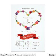 Elegant Watercolor Floral Heart Wreath Wedding