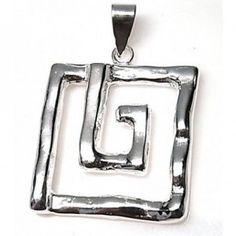 Colgante de plata de primera ley con forma de espiral cuadrada o greca de 3,5 cm de ancho y 3,5 cm de largo