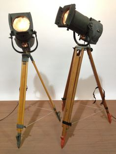 Vintage Industrial Spotlight with Long Lenses