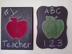 Red and Green apples made from nails and string would make a great unique teacher appreciation gifts, for Christmas or the end of the school year heART of Sarah: STRING ART