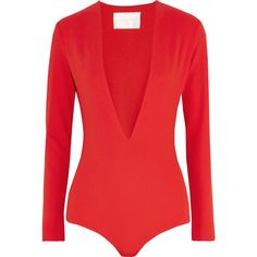 Solace London Amber stretch-crepe bodysuit (5.345 RUB) ❤ liked on Polyvore featuring intimates, shapewear, bodysuits and red
