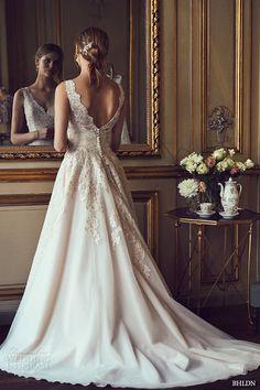 bhldn spring 2016 sleeveless v neck lace strap embellished bodice v back sweep train beautiful a line ball gown wedding dress (mckinley) bkv