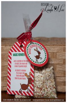 Magic Reindeer Food - Gift Tag Card Rectangle and Gift Tag 2 inch Round - Printable gift tags with poem that you can give away as gifts. They