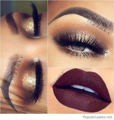 Gold glitter eye makeup with brown matte lips