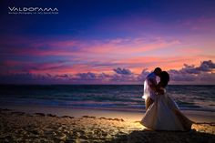 valdorama.com, Artistic Beach Afterglow / Post wedding photo session, Majestic Elegance, Punta Cana, Dominican Republic, sand, newlyweds, couple, sunrise, ocean, clouds, tropical, destination wedding