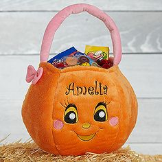 Cutest trick or treat bag ever! This Miss Pumpkin Personalized Halloween treat bag for girls is adorable and can be embroidered with any name!