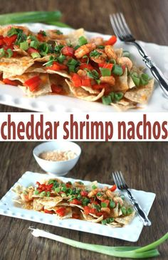 Want to lighten up your nachos? Try our slightly cheesy appetizer recipe with shrimp.  Quick and easy dinner recipe.