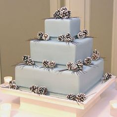 Design Wedding Cakes and Toppers: Picture of Square Wedding Cake with Pine Cones