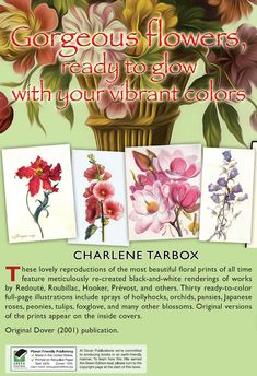 < About > Color Your Own GREAT FLOWER PRINTS by Charlene Tarbox  *** Welcome to Dover Publications