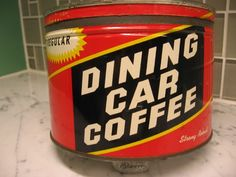 Vintage Dining Car key wind coffee tin can. Original lid. Nice condition.