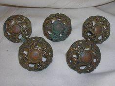 """5 Vintage Drawer Knobs Ornate Design 1 1/2"""" DIY Project Hardware #NotMarked"""