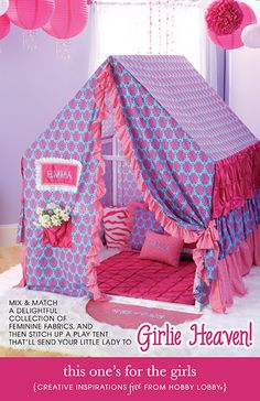 This adorable tent for girls is made from a delightful collection of fabrics that she's sure to love!