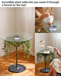 Unless you're new here to Odditymall, you know we love multi-function and unique products, and this incredible plant table is no exception. It's called the Oasis table, and it displays a hanging . Diy Home Decor, Room Decor, Plant Table, Decoration Plante, Hanging Plants, Plant Decor, Cool Furniture, Sweet Home, Indoor