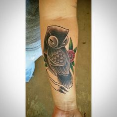 Did this fun owl tattoo while in FL. A day after and not the best pic...but it will do! Thank you Nicki. #tattoo #tattootime #fl #owl #owls #owltattoo