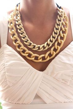 Amanda I know we talked about chunky gold chains for a statement necklace!!! I know it's too much for the wedding just wanted to pin it because I thought you would like it