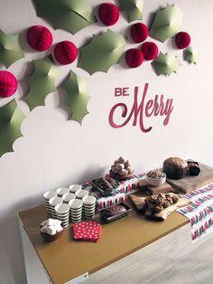 DIY Holiday Holly Wall CONTINUE:…
