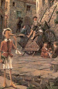 """Pinocho ilustrado por el italiano Roberto Innocenti - """"Cuánta razón tenía yo al decirte que no hay que acostumbrarse a ser demasiado delicados de paladar. No se sabe nunca, querido mío, lo que puede suceder en este mundo. ¡Da tantas vueltas!..."""" #FigurasDeBronce #Artesanía #EnBabia"""