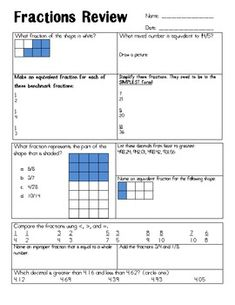 Review fraction concepts quickly! This tool helps review the following concepts:   * Naming fractions based on a picture * Equivalent fractions * Simplest form * Ordering decimals * Comparing fractions * Improper fractions and whole numbers * Adding fractions  This is great used as morning work or homework.