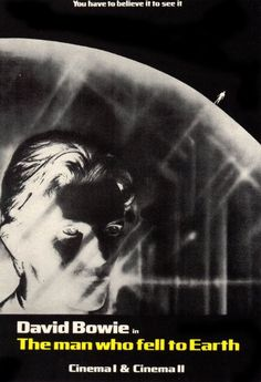 "British promo poster for David Bowie's debut in Nicolas Roeg's ""The Man Who Fell to Earth"", 1976"