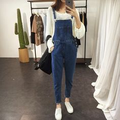 2015 summer style bib overalls for women Washed Wear scar personality big pocket Scratched Dark blue Denim overalls jeanforwomen