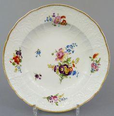 Barocker Meissen Teller, Dulong Relief,Blumen Motiv, Marcolini Periode 1774-1814