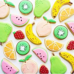 38 Super Ideas For Fruit Salad Decoration Cookie Cutters Sugar Cookie Royal Icing, Cookie Icing, Cookie Cutters, Fruit Salad Decoration, Best Fruit Salad, Fruit Cookies, Banana Fruit, Banana Bread, Iced Biscuits