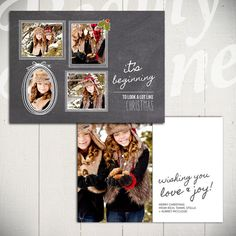 Christmas Card Template: Chalkboard Christmas C - 5x7 Holiday Card Template for Photographers by Beauty Divine Design on Etsy