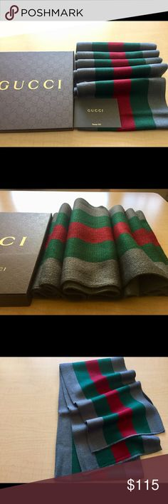 Gray Gucci Scarf Authentic Gucci Scarf brand new with tags made in Italy Gucci Accessories Scarves