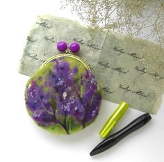 Wet Felted FLOWER Lilac Bushes coin purse Ready to by MSbluesky