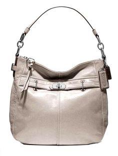 Coach Chelsea Ashlyn Metallic Leather Shoulder Hobo Bag Purse Tote 18696 Platinum