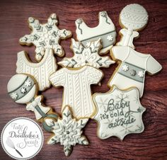 winter baby shower cookies, baby its cold outside, sweater cookies, snowflake cookies, onesie, bib, rattle, decorated sugar cookies, royal icing, gender neutral baby shower