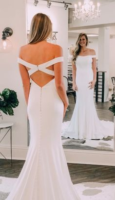 6e4d722bf8c7 Gorgeous Off the Shoulder White Wedding Dress with Cross Back