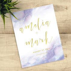 Lavender Watercolor Gold Save the Date, Spring wedding ideas Wedding Crafts, Wedding Paper, Invitation Design, Invitation Cards, Invitation Templates, Invites, Foil Save The Dates, Printed Magnets, Watercolor Wedding Invitations