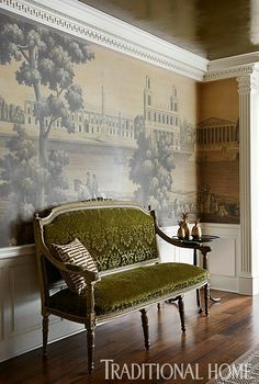 traditional elegance, living room. damask olive settee, panoramic wall covering or scenic mural