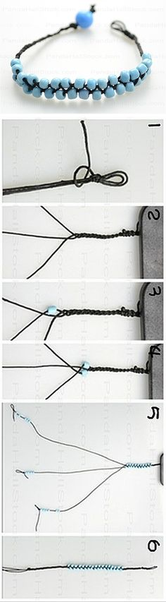 Simple 3-strand braid with beads - written instructions on site.  The key is to braid so that the beads lie flat.  . . .  ღTrish W ~ http://www.pinterest.com/trishw/  . . .   #handmade #jewelry #bracelet