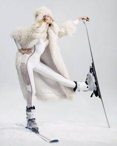 Stella McCartney alter fur coat, £3,229, and matching hat, £475. La Perla neoprene and lace Desire bodysuit, £2,400. Atomic Hawx Magna 90W ski boots, £280. Lacroix Mach Carbon skis, £848