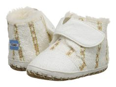TOMS Kids Cuna (Infant/Toddler) White Metallic Twill Suede - Zappos.com Free Shipping BOTH Ways
