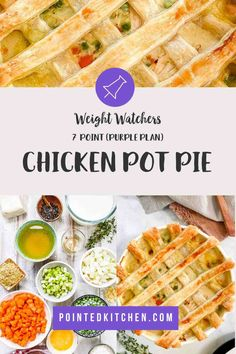 This lovely Chicken Pot Pie is 7 SmartPoints per HUGE portion on Weight Watchers Blue Weight Watchers Pasta, Weight Watcher Dinners, Weight Watchers Desserts, Friend Chicken Recipe, Chicken Recipes, Frozen Puff Pastry, Puff Pastry Sheets, Pie Tops, Yum Yum Chicken